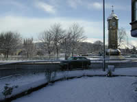 Snowy view of the Clock Roundabout which is outside the flat.
