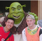 Photo taken on holiday in LA - Shrek in the background as we were at Universal Studios! - September 2001